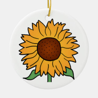 Cartoon Flowers, Summer Floral Sunflower Round Ceramic Ornament