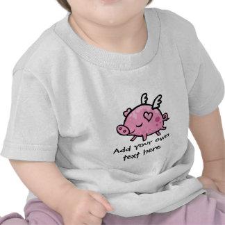 Cartoon Flying pig customisable text Tshirt