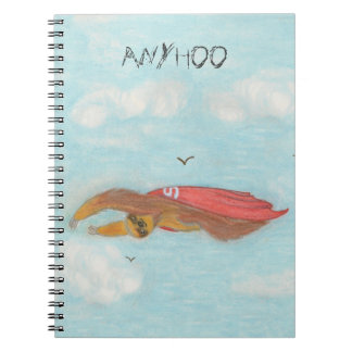 "cartoon flying super sloth notebook ""Anyhoo"""