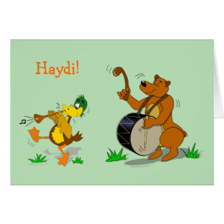 Cartoon Folk Dancing Animals Card Add Your Text