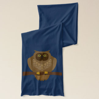 Cartoon Fox and an Owl on Perch Scarf Wraps