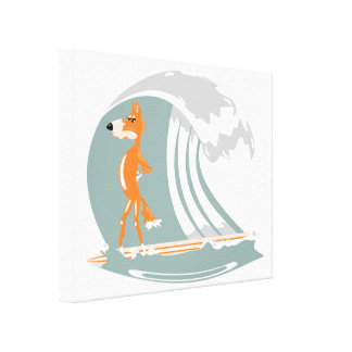 Cartoon Fox on a Surfboard Canvas Print