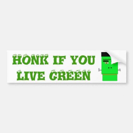 Cartoon Frankenstein Honk if you Live Green Bumper Sticker