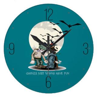 Cartoon Frankenstein next to grave Halloween Large Clock