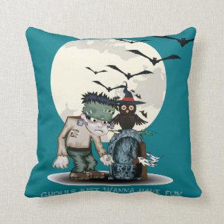 Cartoon Frankenstein next to grave Halloween Throw Pillow