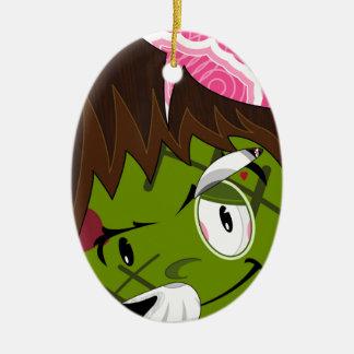 Cartoon Frankensteins Monster Ceramic Oval Ornament