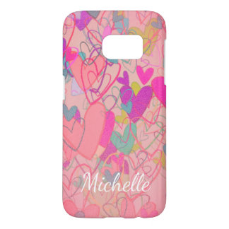 Cartoon Free Hearts Cheerful Nostalgic Cute Girly Samsung Galaxy S7 Case