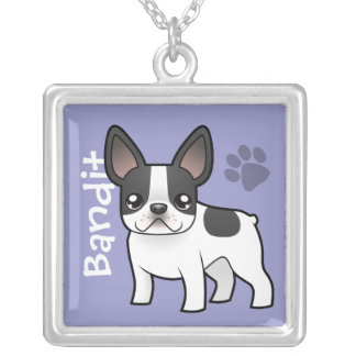 Cartoon French Bulldog (add your pets name) Silver Plated Necklace
