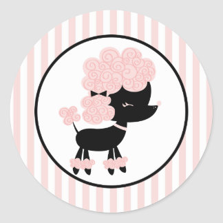 Cartoon French Poodle Classic Round Sticker