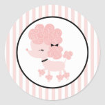 Cartoon French Poodle Round Sticker