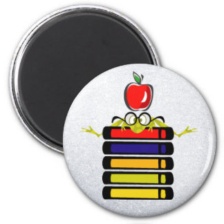 cartoon frog and books magnet