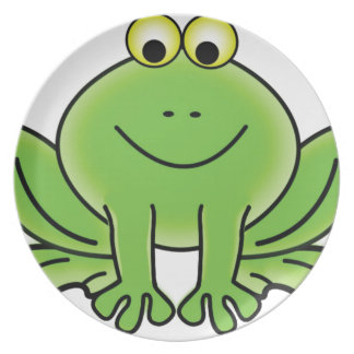 cartoon frog fun art dinner plates
