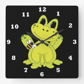 Cartoon frog fun wall clock