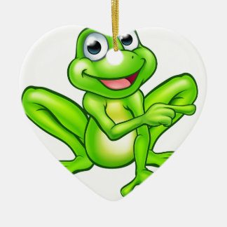 Cartoon Frog Pointing Ceramic Ornament