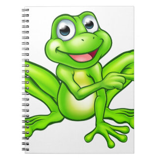 Cartoon Frog Pointing Notebook