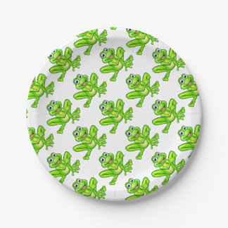 Cartoon Frog Pointing Paper Plate