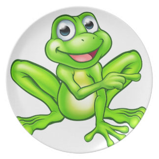 Cartoon Frog Pointing Plate