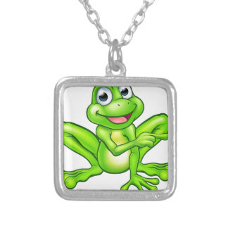Cartoon Frog Pointing Silver Plated Necklace