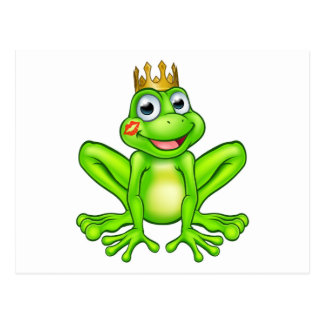 Cartoon Frog Prince Kiss Postcard
