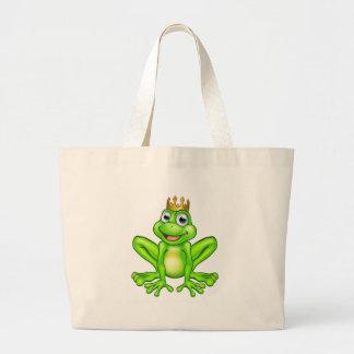 Cartoon Frog Prince Large Tote Bag