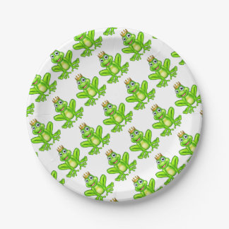 Cartoon Frog Prince Paper Plate