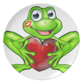 Cartoon Frog with Kiss and Love Heart Dinner Plate