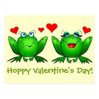 Cartoon Frogs Hearts Card Hoppy Valentines Day Postcard
