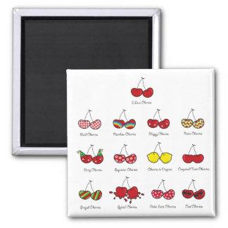 Cartoon Fun Comic Funny Cheeky Red Cherries Cherry Magnet