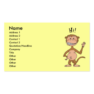 Cartoon funny monkey (Hi!) Pack Of Standard Business Cards