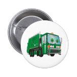 Cartoon Garbage Truck Green 2 Inch Round Button