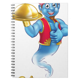 Cartoon Genie Serving Food Spiral Notebook