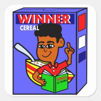 Cartoon Genius Box on Cereal Box Square Sticker