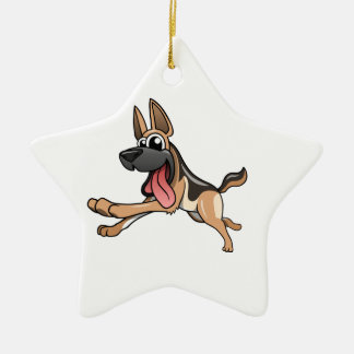Cartoon German Shepherd Ceramic Ornament