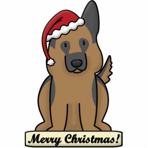 Cartoon German Shepherd Christmas Ornament Photo Cut Out