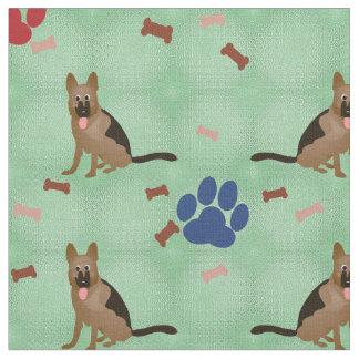 Cartoon German Shepherd Fabric