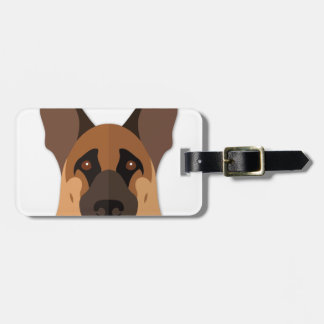 Cartoon German Shepherd Head Luggage Tag