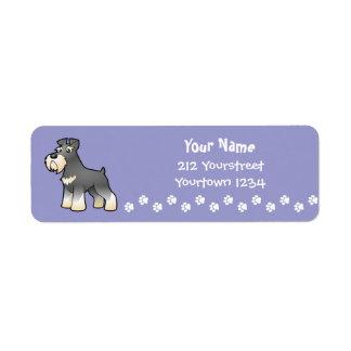 Cartoon Giant/Standard/Miniature Schnauzer Return Address Label