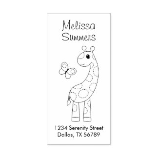 Cartoon Giraffe and Butterfly Color Me Address Rubber Stamp