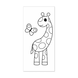 Cartoon Giraffe and Butterfly Color Me Rubber Stamp