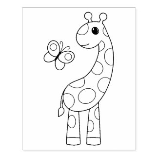 Cartoon Giraffe and Butterfly Coloring Page Rubber Stamp