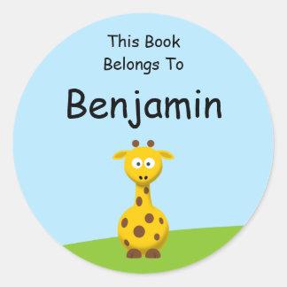 Cartoon Giraffe Classic Round Sticker