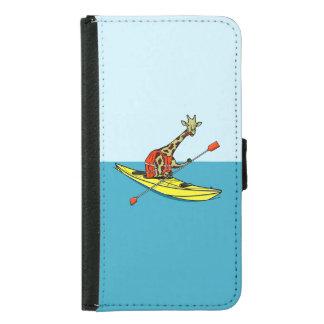 Cartoon Giraffe in a sea kayak