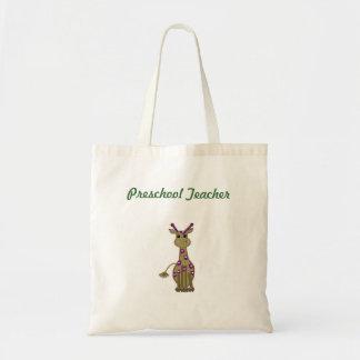 Cartoon Giraffe Preschool Teacher Tote Bag