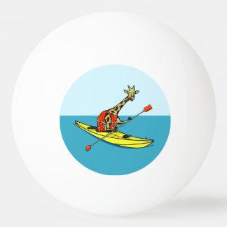 Cartoon giraffe sea kayaking ping pong ball