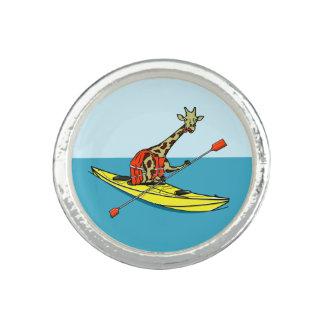 Cartoon giraffe sea kayaking ring