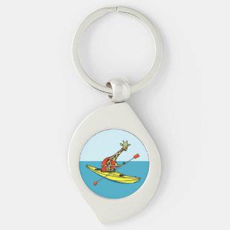 Cartoon giraffe sea kayaking Silver-Colored swirl keychain