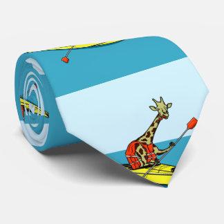 Cartoon giraffe sea kayaking tie