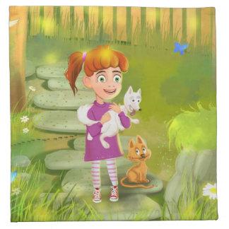 cartoon Girl and funny Doggy Napkins