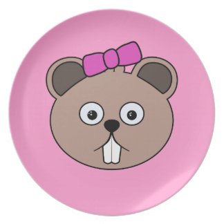 Cartoon Girl Beaver Face Plate