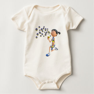 Cartoon Girl Blowing Bubbles Baby Bodysuit